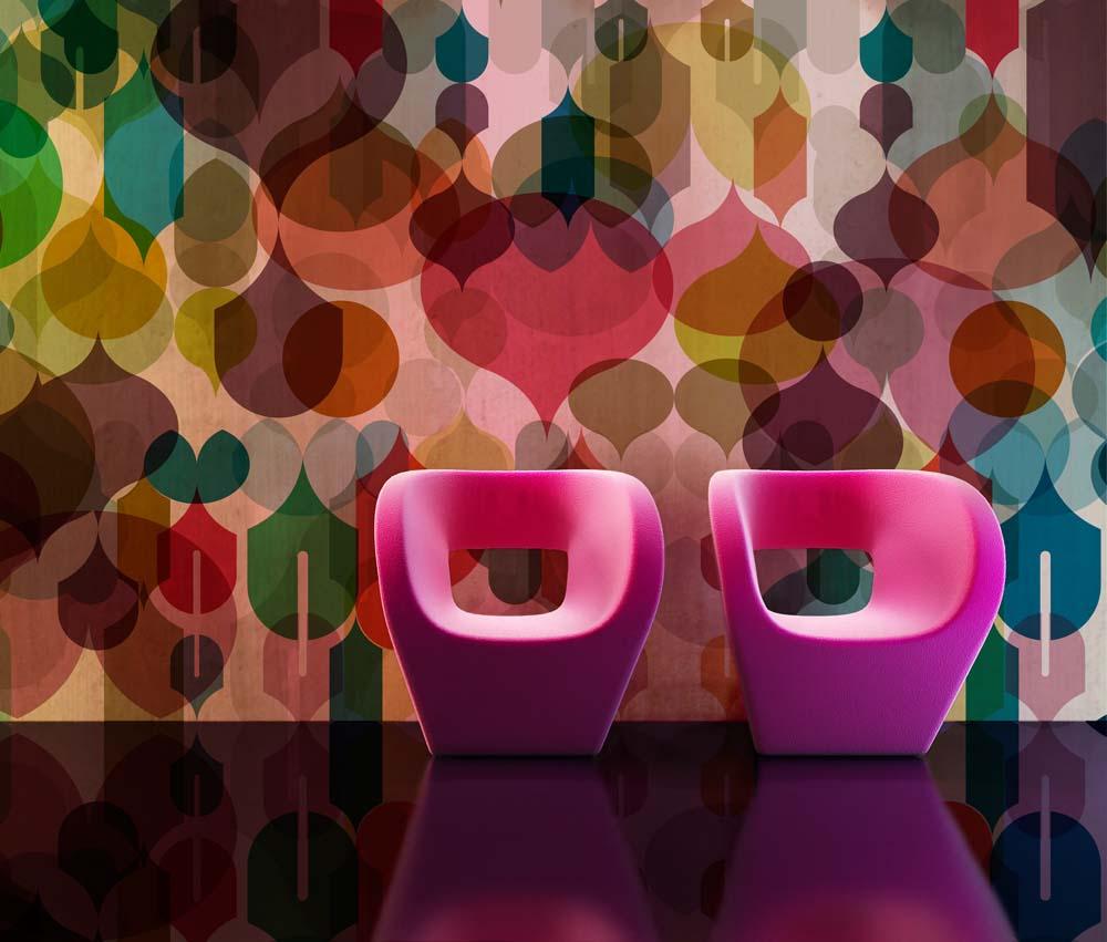 Wallpaper pompas de color, un diseño realizado para Casa Decor que entró a formar parte de la colección