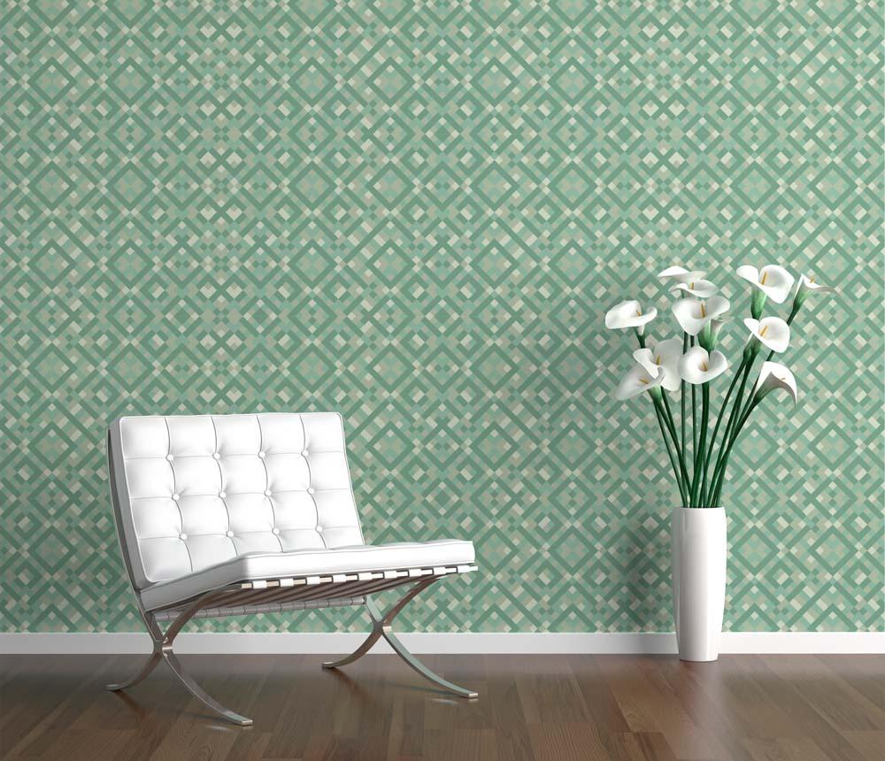 Verde agua, delicados cuadros en un wallpaper lleno de detalles